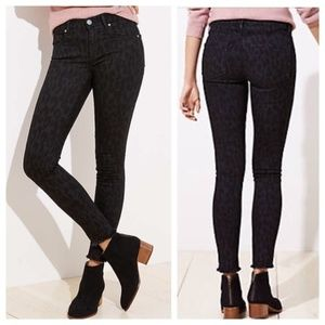 LOFT Modern Skinny Black Leopard Print Ankle Jeans